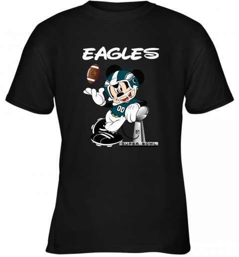Mickey Eagles Taking The Super Bowl Trophy Football Youth T-Shirt