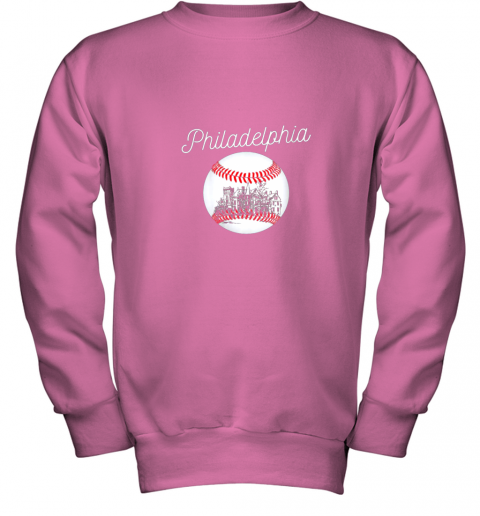 1ghk philadelphia baseball philly tshirt ball and skyline design youth sweatshirt 47 front safety pink