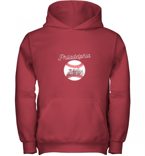 qs54 philadelphia baseball philly tshirt ball and skyline design youth hoodie 43 front red