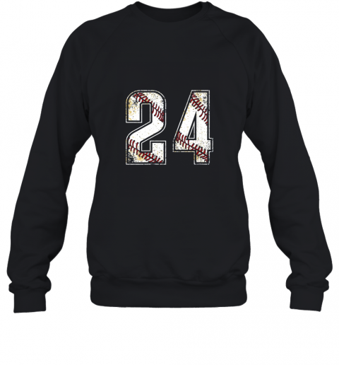 #24 Baseball Jersey Number 24 Vintage Retro Birthday Gift Sweatshirt