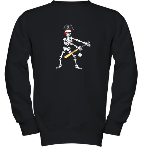 Skeleton Pirate Floss Dance With Baseball Shirt Halloween Youth Sweatshirt
