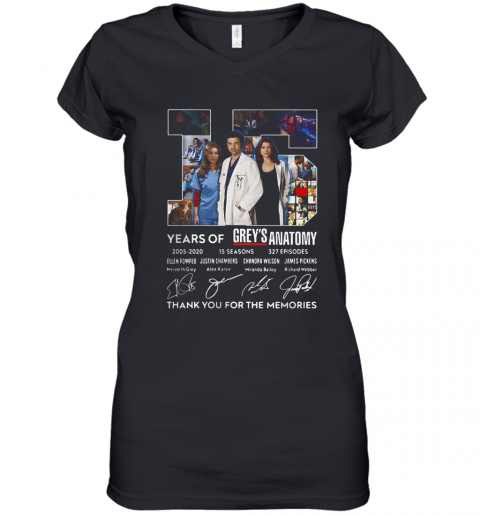 15 Years Of Grey'S Atomy 2005 2020 Thank You For The Memories Signature Women's V-Neck T-Shirt