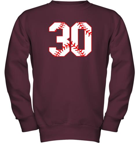 g99j thirtieth birthday party 30th baseball shirt born 1989 youth sweatshirt 47 front maroon