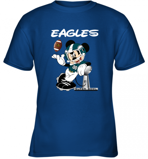o8j8 mickey eagles taking the super bowl trophy football youth t shirt 26 front royal