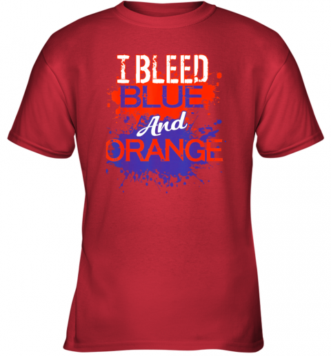 nn29 i bleed blue and orange fan shirt football soccer baseball youth t shirt 26 front red