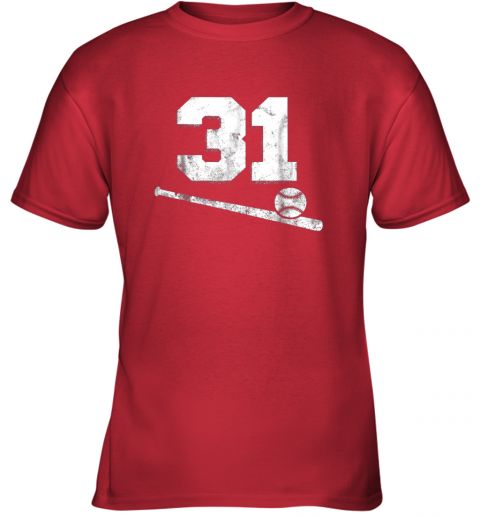 re55 vintage baseball jersey number 31 shirt player number youth t shirt 26 front red