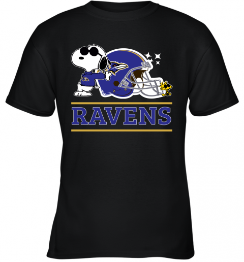 nuyd the baltimore ravens joe cool and woodstock snoopy mashup youth t shirt 26 front black