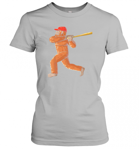 l055 bigfoot baseball sasquatch playing baseball player ladies t shirt 20 front sport grey