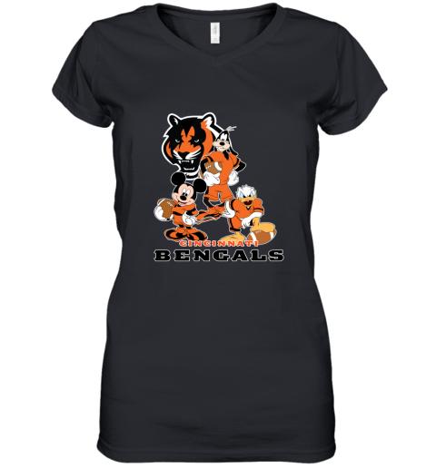 so4p mickey donald goofy the three cincinnati bengals football shirts women v neck t shirt 39 front black