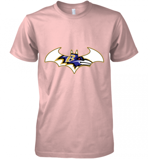 pdry we are the baltimore ravens batman nfl mashup premium guys tee 5 front light pink