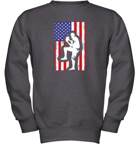 nwzu vintage usa american flag baseball player team gift youth sweatshirt 47 front dark heather