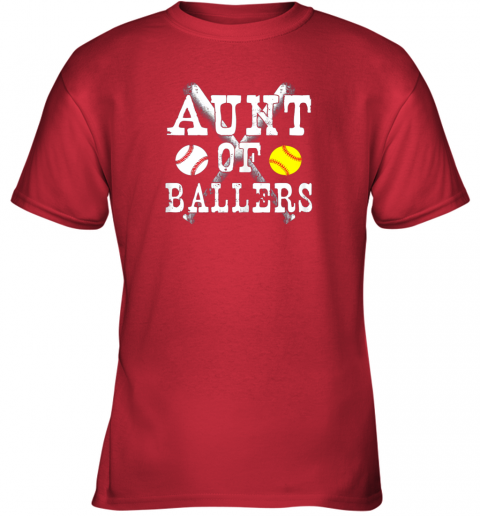 bp54 vintage aunt of ballers shirt funny baseball softball love youth t shirt 26 front red