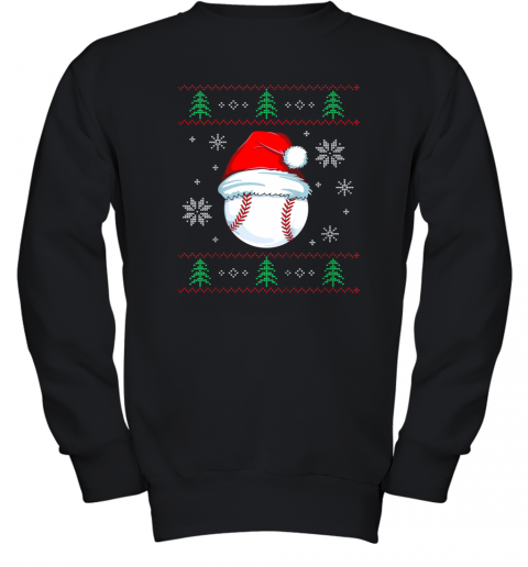 Ugly Christmas Baseball Shirt Boys Kids Ball Santa Pajama Youth Sweatshirt