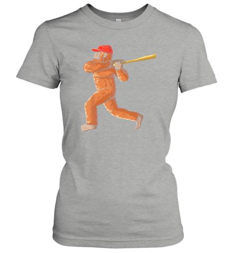 l055 bigfoot baseball sasquatch playing baseball player ladies t shirt 20 front ash
