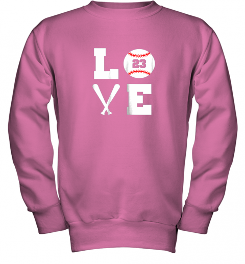 aipk i love baseball player number 23 gift shirt youth sweatshirt 47 front safety pink