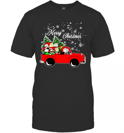 Merry Christmas Snoopy Driving Tree Truck Ugly T-Shirt