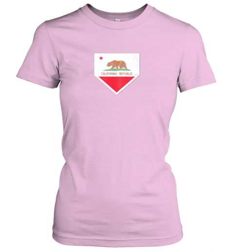 shvv vintage baseball home plate with california state flag ladies t shirt 20 front light pink