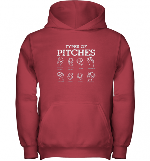 ul07 types of pitches softball baseball team sport youth hoodie 43 front red