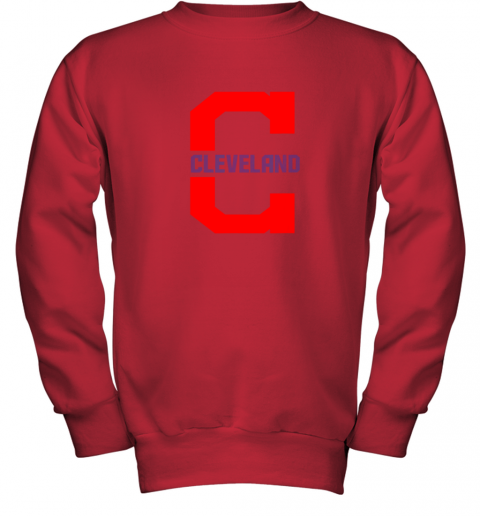 rknk cleveland hometown indian tribe vintage for mlb fans youth sweatshirt 47 front red