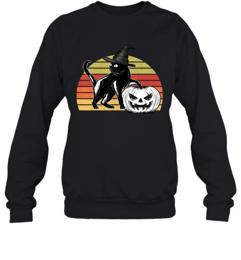 Vintage Scary Halloween Black Cat witch Hat Moon Pumpkin Bat Sweatshirt