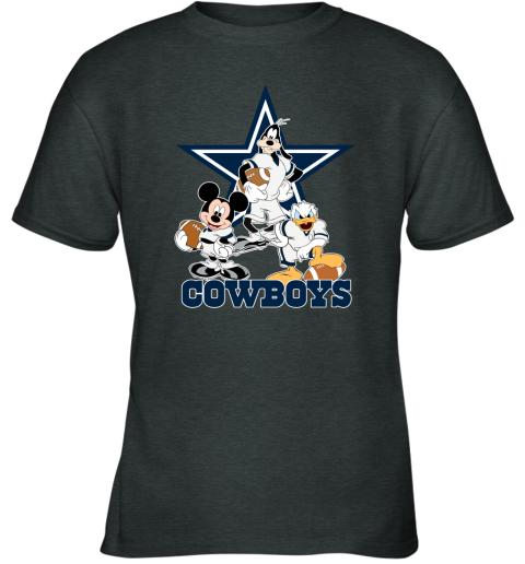 Mickey Donald Goofy The Three Dallas Cowboys Football Youth T-Shirt
