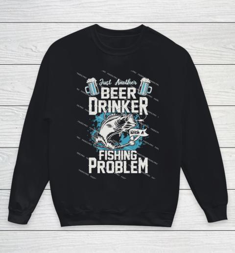 Beer Lover Funny Shirt Fishing ANd Beer Youth Sweatshirt