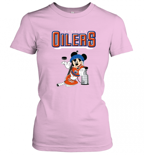 swbv mickey edmonton oilers with the stanley cup hockey nhl shirt ladies t shirt 20 front light pink