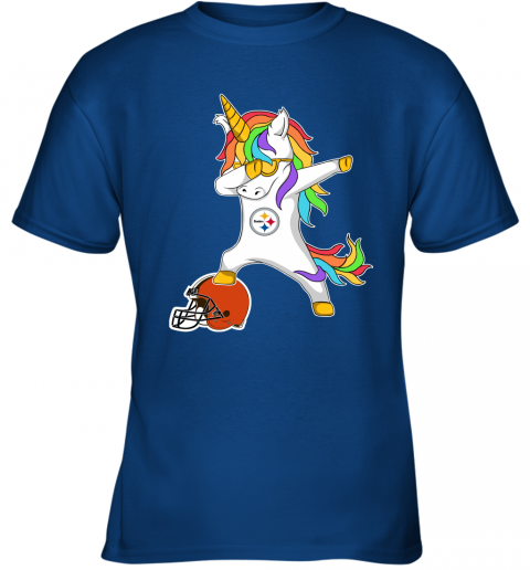 wbpf football dabbing unicorn steps on helmet pittsburgh steelers youth t shirt 26 front royal