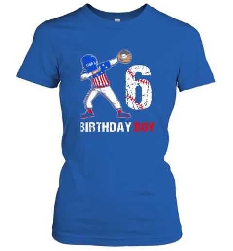 mhnr kids 6 years old 6th birthday baseball dabbing shirt gift party ladies t shirt 20 front royal