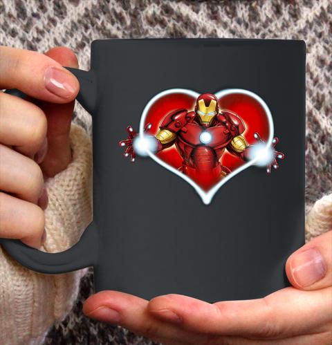 Marvel Iron Man Heart Blaster Glow Valentine Graphic Ceramic Mug 11oz 2