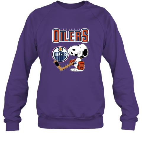 biud edmonton oilers ice hockey broken teeth snoopy nhl shirt sweatshirt 35 front purple