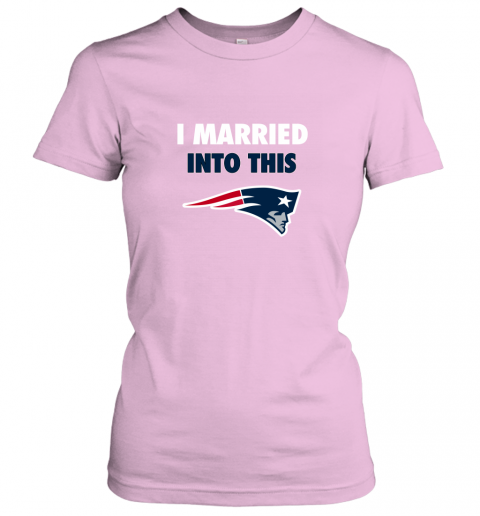 ujln i married into this new england patriots football nfl ladies t shirt 20 front light pink
