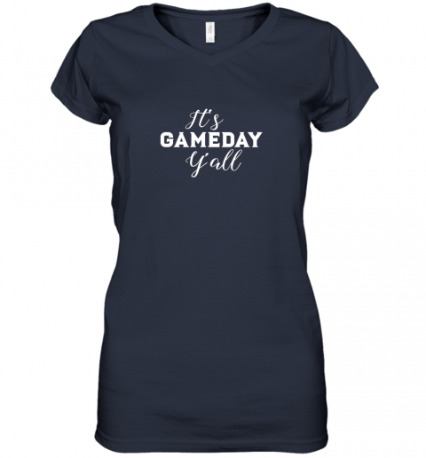 pyay it39 s game day y39 all football baseball basketball women v neck t shirt 39 front navy
