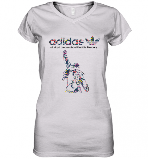 Adidas All Day I Dream About Freddie Mercury Floral Women's V-Neck T-Shirt