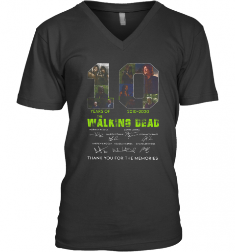 10 Years Of The Walking Dead 2010 2020 Anniversary V-Neck T-Shirt