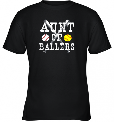 Vintage Aunt of Ballers Shirt Funny Baseball Softball Love Youth T-Shirt