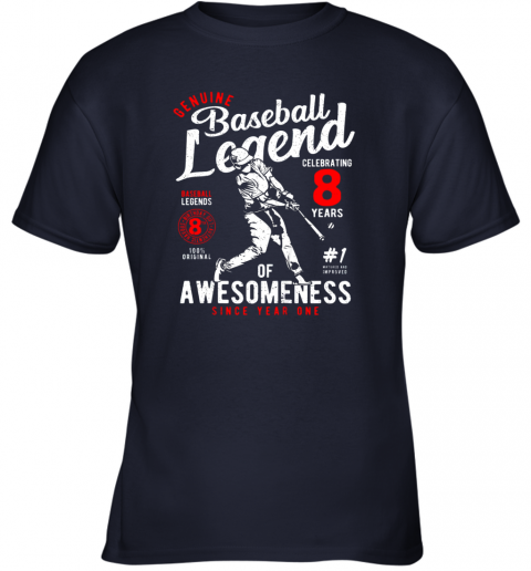 rgm8 kids 8th birthday gift baseball legend 8 years youth t shirt 26 front navy
