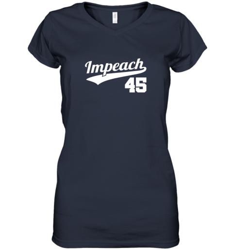 jy4x impeach donald trump 45 baseball logo women v neck t shirt 39 front navy