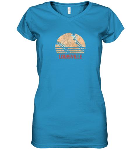 hr0v vintage baseball louisville shirt cool softball gift women v neck t shirt 39 front sapphire