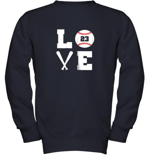 aipk i love baseball player number 23 gift shirt youth sweatshirt 47 front navy