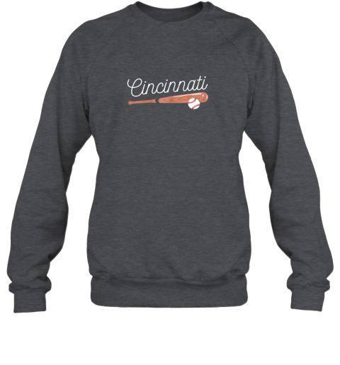 u5mv cincinnati baseball tshirt classic ball and bat design sweatshirt 35 front dark heather