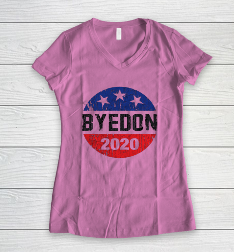 Bye Don 2020 ByeDon Button Funny Joe Biden Anti Trump Retro Women's V-Neck T-Shirt 8