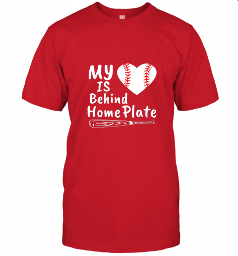 0osr womens my heart is behind home plate baseball bat mom dad gift jersey t shirt 60 front red