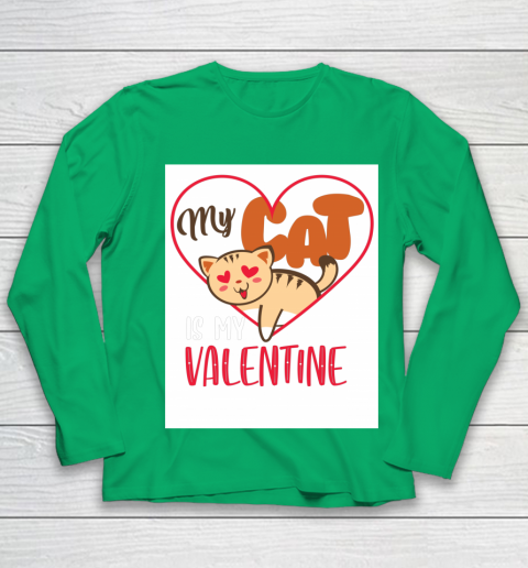 Cute My Cat Is My Valentine Cat Lover Valentines Day Gift Youth Long Sleeve 4