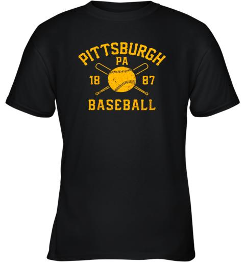 Vintage Pittsburgh Baseball Pennsylvania Pirate Retro Gift Youth T-Shirt