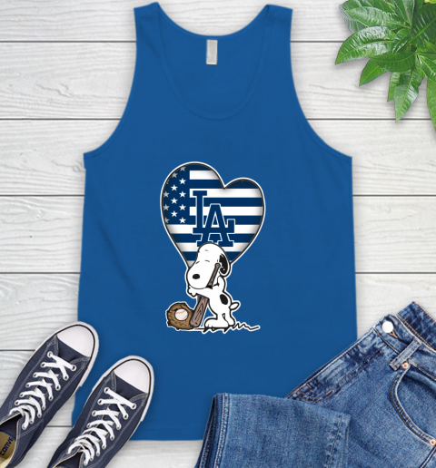 Los Angeles Dodgers MLB Baseball The Peanuts Movie Adorable Snoopy Tank Top 5