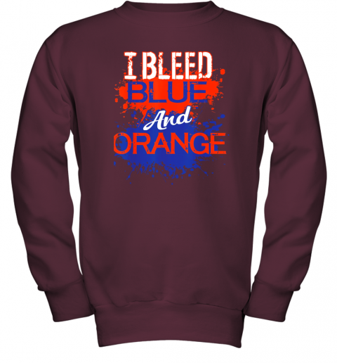 ixtd i bleed blue and orange fan shirt football soccer baseball youth sweatshirt 47 front maroon