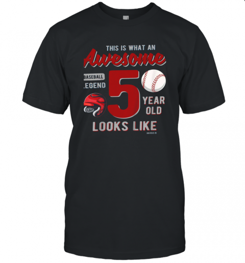 Kids 5th Birthday Gift Awesome 5 Year Old Baseball Legend Unisex Jersey Tee