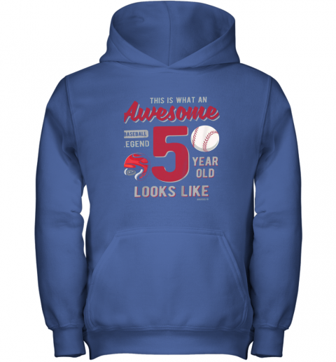 fuxn kids 5th birthday gift awesome 5 year old baseball legend youth hoodie 43 front royal