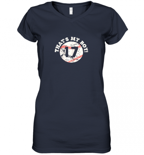 9zi9 that39 s my boy 17 baseball player mom or dad gift women v neck t shirt 39 front navy